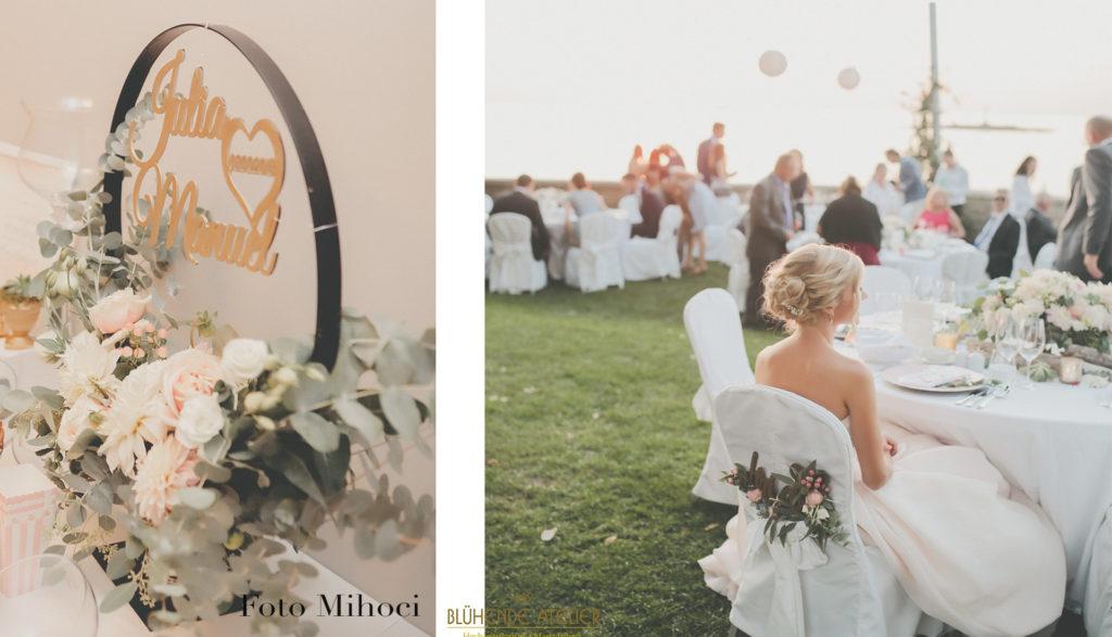 Villa Polesini, Kroatien, Hochzeit am Meer, Tischdekoration, Brautstrauß