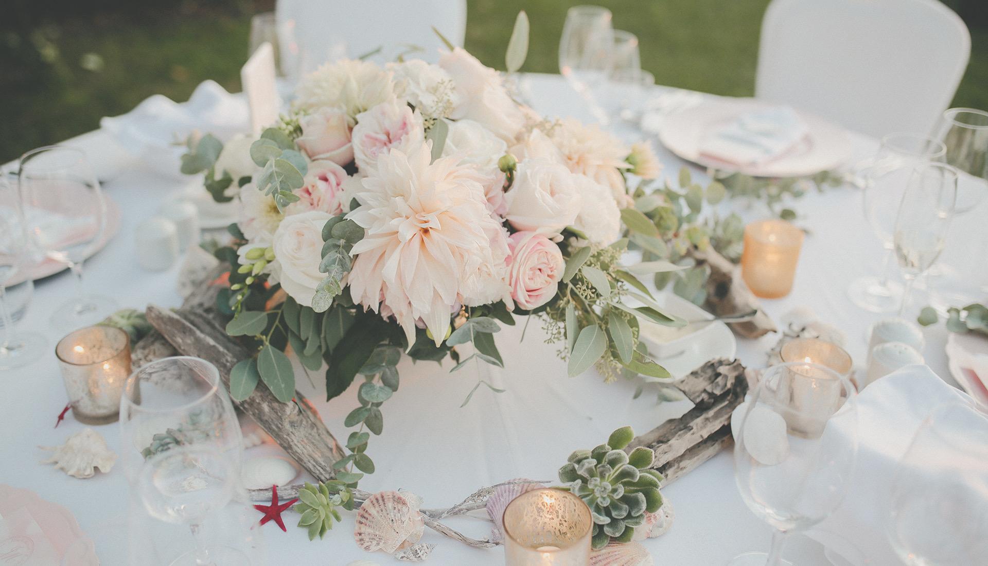 Hochzeitsdeko, Kroatien, Tischdekoration, Heiraten am Meer
